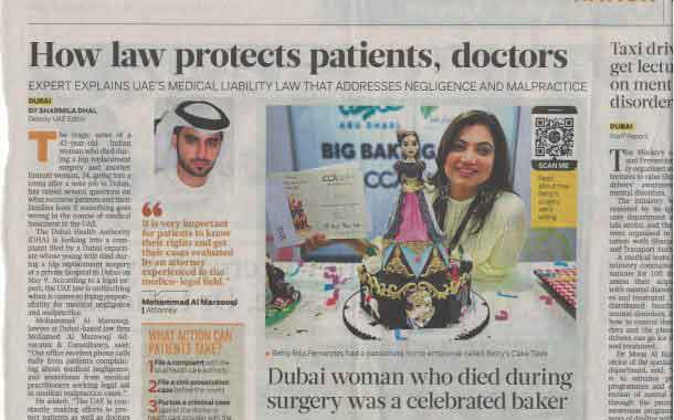 How Law Protects Patients and Doctors An Interview with advocate Mohamed Al Marzooqi